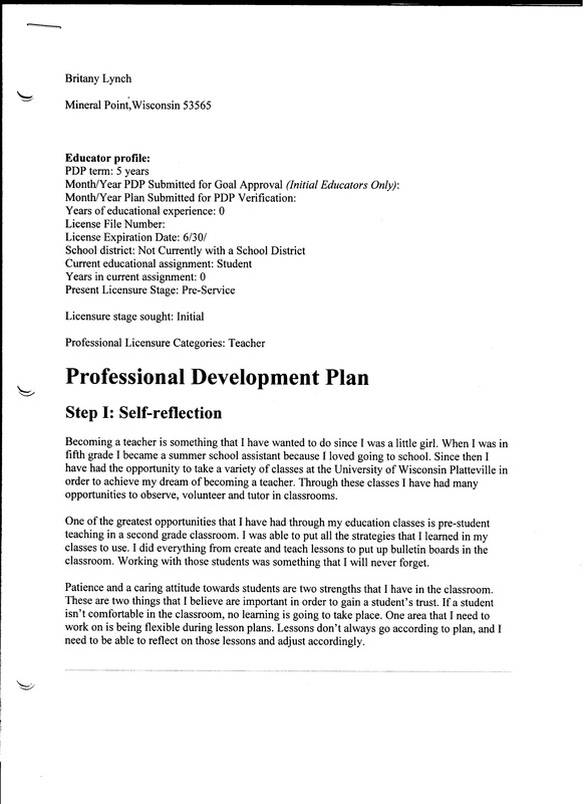 Mock Professional Development Plan - Britany Lynch'S Education